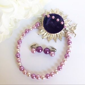 VTG 50s Lavender Choker Necklace & Earrings Set